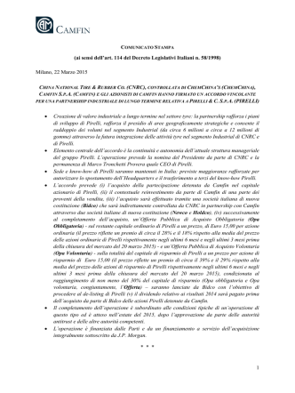 1 (ai sensi dell`art. 114 del Decreto Legislativi Italiani