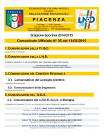 Comunicato Ufficiale N° 35 del 18/03/2015 - F.I.G.C