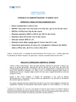 19/03/2015Approvati i risultati al 31 Dicembre 2014