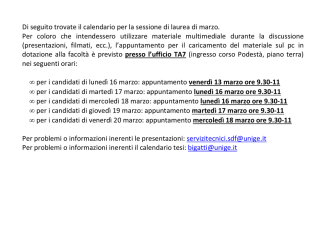 calendario tesi di laurea di marzo - genova