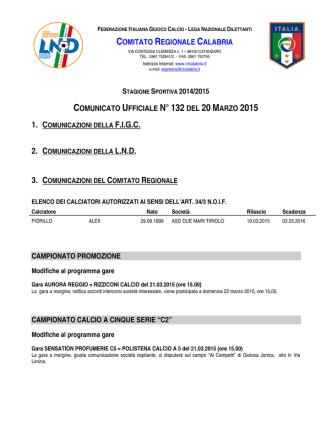 Comunicato Ufficiale n. 132 del 20 Marzo 2015