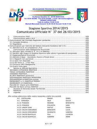 Comunicato Ufficiale N° 37 del 26/03/2015