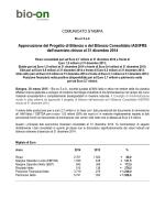 COMUNICATO STAMPA Approvazione del Progetto di - Bio-On