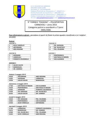 Calendario - Polisportiva Carnovali