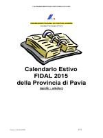 Calendario Provinciale Estivo FIDAL Pavia 2015 (Versione 1.0 del