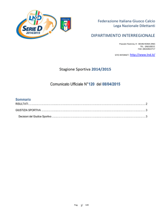 Comunicato Ufficiale n°120 del 08/04/2015