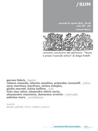 """concerto conclusivo del seminario """"teoria e prassi musicale antica"""