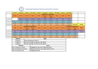 Calendario lezioni dal 24/03/2015 - Università degli Studi di Napoli