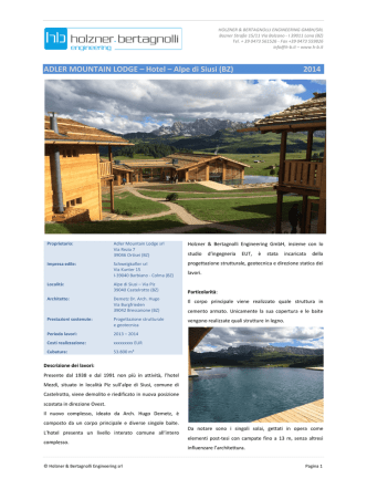 ADLER MOUNTAIN LODGE – Hotel – Alpe di Siusi (BZ) 2014