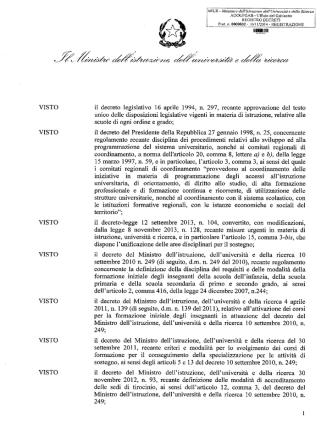 Decreto Ministeriale 832 del 10 novembre 2014 - Definizone