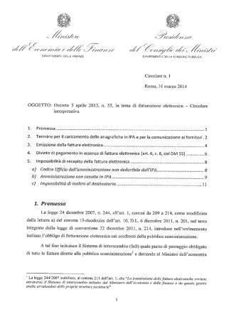 Circolare del 31 marzo 2014 - Dipartimento Funzione Pubblica