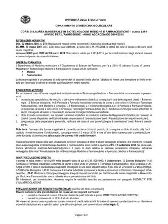 Bando di ammissione - Università degli Studi di Pavia