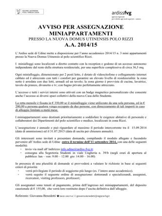 avviso miniappartamenti a.a. 14-15