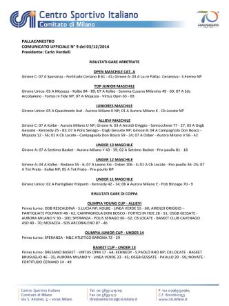 Comunicato n. 9 commissione pallacanestro