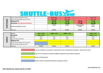 09.45 14.00 17.00 18.00 A R R IVI PA R T EN Z E Orari Shuttle bus