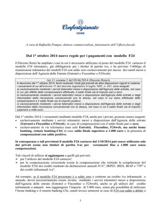 Dal 1° ottobre 2014 nuove regole per i pagamenti con modello F24