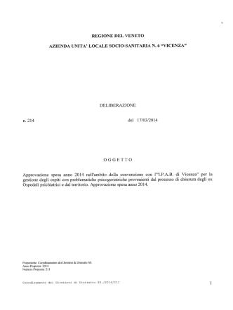 DELiBERAZIONE n.214 del 17/03/2014