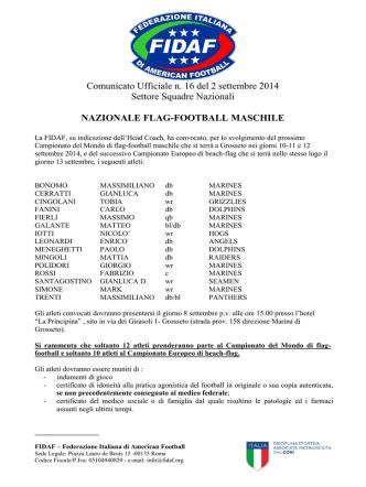 Comunicato Ufficiale n. 16 del 2 settembre 2014 Settore Squadre