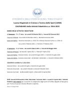 Calendario Attività Didattiche L. M. in Scienza e Tecnica dello Sport