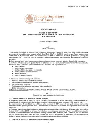 Allegato n. 1 D.R. 249/2014 1 ISTITUTO DIRPOLIS BANDO DI