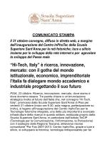 """""""Hi-Tech, Italy"""" è ricerca, innovazione, mercato"""