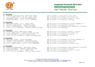 calendario u17 maschile - ASD New Volley Lucera