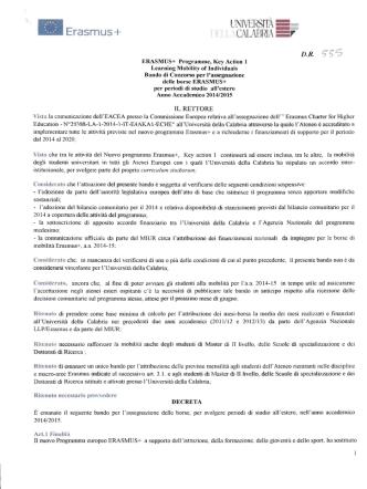 Bando Erasmus+ 2014/15 - LLPManager