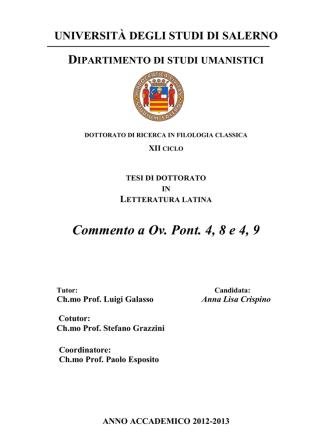 Commento a Ov. Pont. 4, 8 e 4, 9 - EleA@UniSA