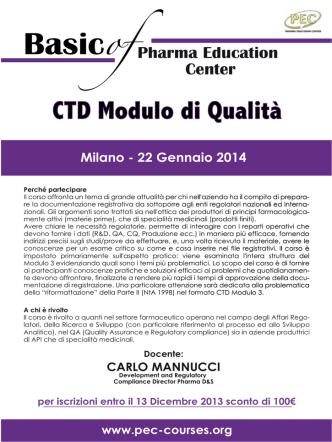 """Corso PEC """"CTD - Modulo di Qualità"""""""