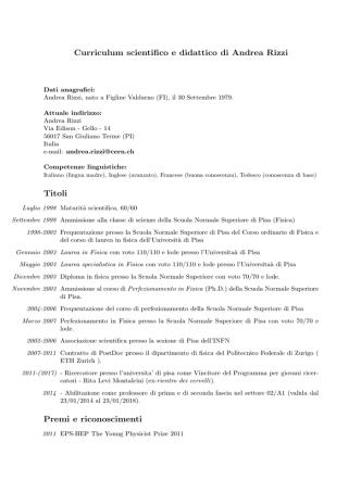 Curriculum scientifico e didattico di Andrea Rizzi Titoli Premi