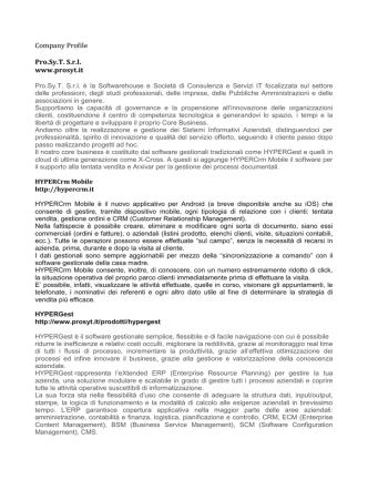 Company Profile Pro.Sy.T. S.r.l. www.prosyt.it