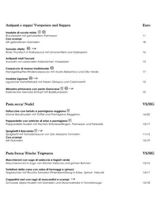 Antipasti e zuppe/ Vorspeisen und Suppen Euro Pasta secca/ Nudel