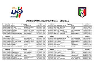 CAMPIONATO ALLIEVI PROVINCIALI - GIRONE A