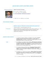 LIST OF EDUCATION AND PUBLICATIONS