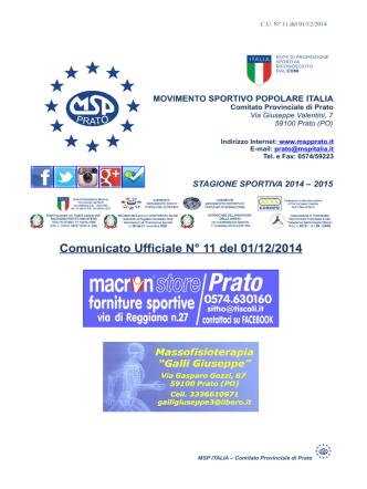 Comunicato Ufficiale n. 11 del 01-12-2014