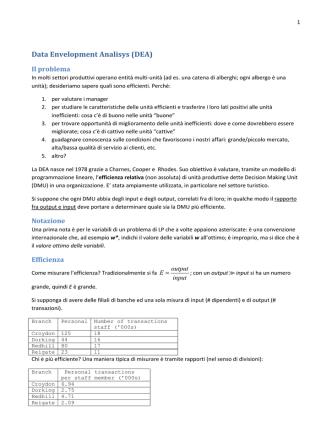 Data Envelopment Analisys (DEA)