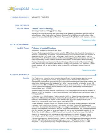 CV - European Medicines Agency
