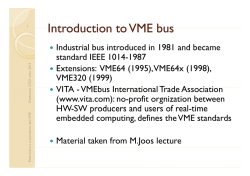 Introduction to VME bus Introduction to VME bus