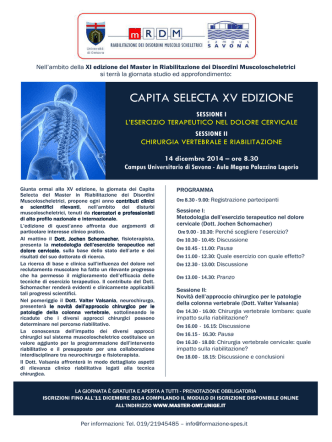 CAPITA SELECTA XV EDIZIONE - Campus Universitario di Savona