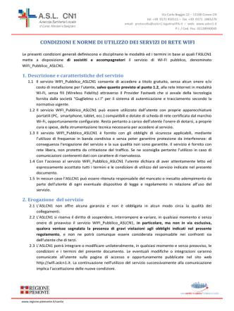 condizioni e norme di utilizzo dei servizi di rete wifi