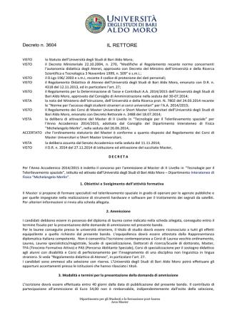 Decreto Dirigenziale 256/xy del 5 marzo 2001