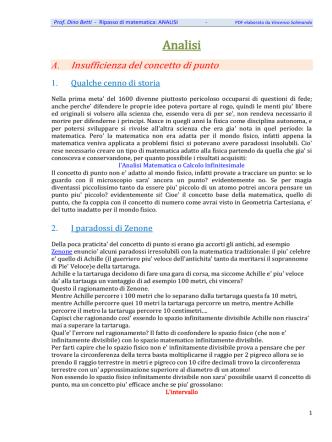 Analisi - RIPasso di MATematica