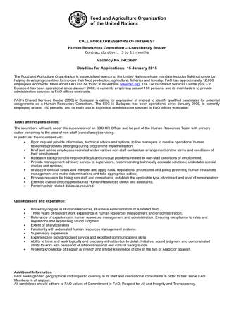 Call for Expression of Interest (Human Resources Consultant)