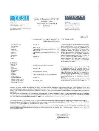 Certificato di taratura