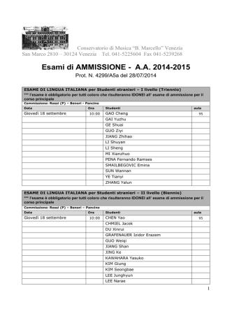 Calendario esami di Ammissione (PDF)