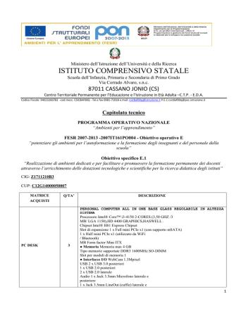CAPITOLATO TECNICO E1 - IC Lanza-Milani
