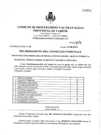 Delibera aliquote TASI 2014 - Comune di Montegrino Valtravaglia