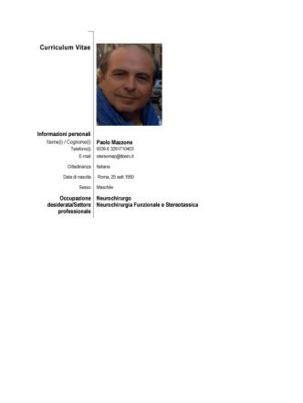CV Paolo Mazzone - StereotassiaFunzionale.com