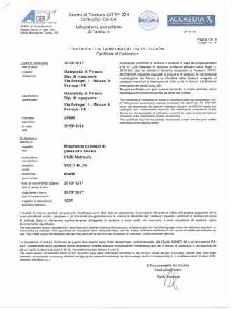Certificato taratura fonometro