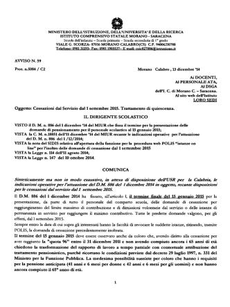 AVVISO N.59 - IC Morano Calabro